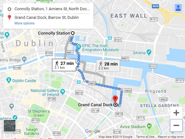 Map of Connolly to Grand Canal Station