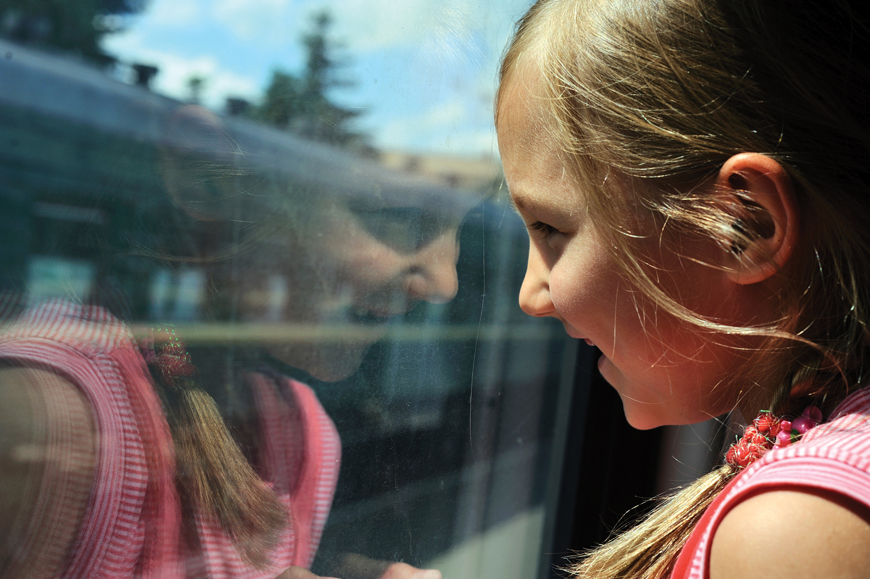girl train window