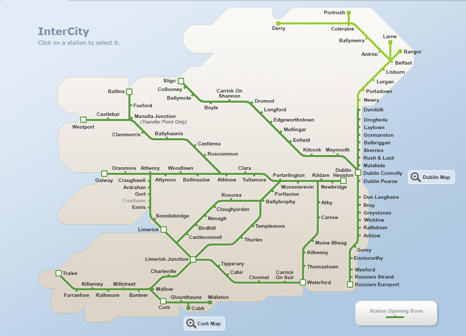 Station and Route maps – Travel Map of Ireland