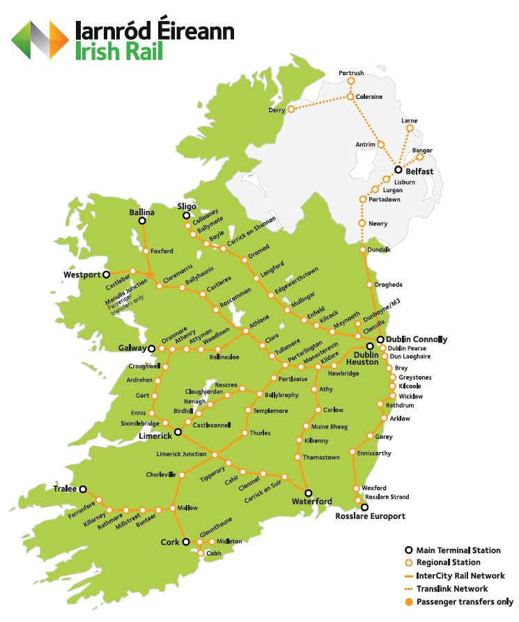 Ireland Train Map Train Timetables by Route Ireland Train Map